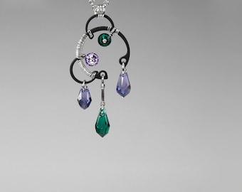 Industrial Pendant with Purple and Green Swarovski Crystals, Tanzanite Swarovski Necklace, Emerald Swarovski Necklace, Aurora Borealis v9