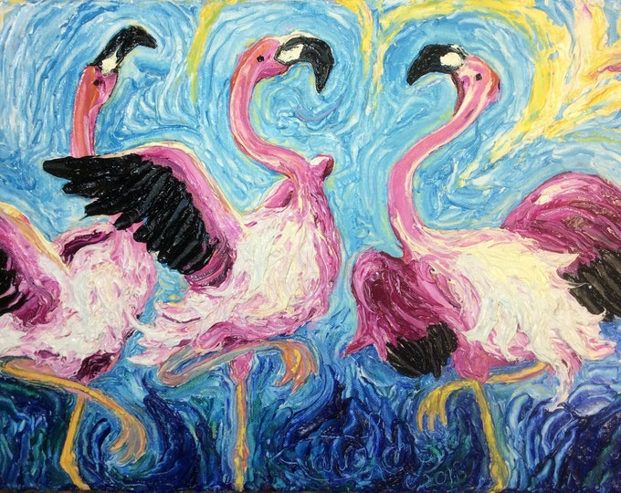 Featured listing image: Pink Flamingo Can Can 12 by 16 by 1 3/4 Inch Original Impasto Oil Painting by Paris Wyatt Llanso