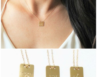 Square Personalized Necklace, Gold Necklace, Gold Initial Necklace, Personalized Jewelry, Best Friend Necklace, Sister Gift, Gift for Her