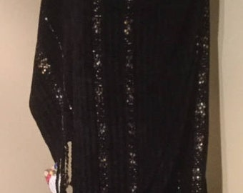 Handwoven Black Chenille Shawl