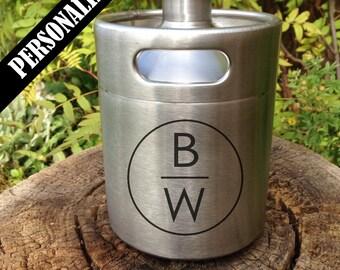 Personalized Mini Keg Beer Growler, Custom design, growler, groomsmen, wedding, birthday gift, Home Brew