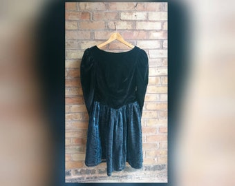 Vintage 80s velvet and two tone party dress