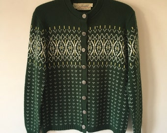 Vintage Nordic Cardigan by Jersild, Green Fair Isle Acrylic with Metal Shank Buttons