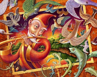 Music art print 10x16, Magic Flute: Children's book illustration fantasy art of birds, fish, lizards, insects, cat, man & flute, with sunset