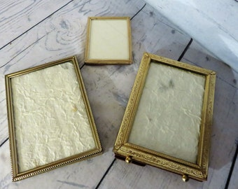 Gold Picture Frame Set of Three Gold, Two 5 x 7  One 3 x 5 frames, Mid Century Picture Display, Tabletop Photos