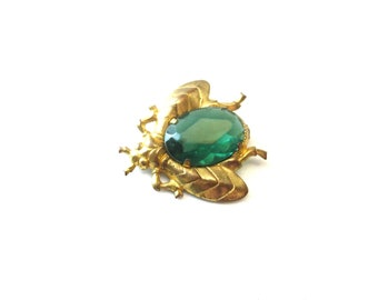 Vintage Lightweight Unmarked Faceted Resin Green Rhinestone & Gold Tone Metal Entomology Bug / Insect Brooch
