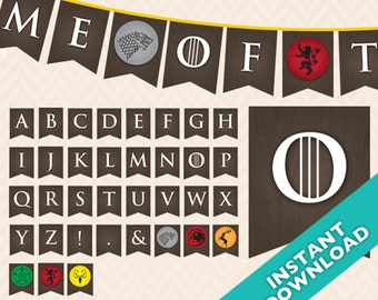 Printable Game of Thrones Party Banner ... Use again and again for every event, baby shower, birthday, etc.