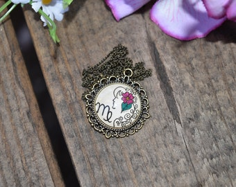Virgo Zodiac Necklace Virgin Constellation Astrology Sign Henna Mehndi Vintage Style Hand Drawn Handmade Jewelry Vitality Symbol Floral