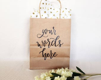 Personalized Gift Bags | Custom Gift Bags | Bridesmaids Gifts | Wedding Favors | Hand Lettered Bags | Party Favors | Kraft Gift Bag