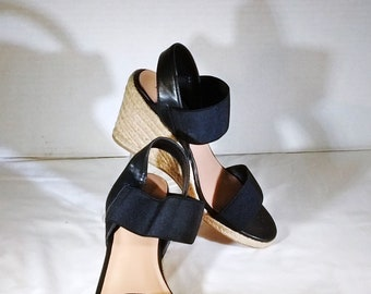 Black Merona wedge platform sandals ~ size 6 ~ good condition ~ casual with jeans or capri pants OR dressier with dress or skirt ~ summer
