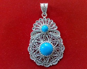 Silver Turquoise Pendant, Sterling Silver Pendant, Flower Silver Turquoise Pendant, Hand-crafted Pendant, Filigree Pendant