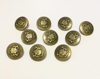 25x Royal Antique Bronze Shank Vintage Hole Buttons 18x18mm