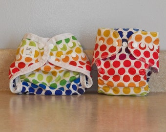 Preemie Newborn Cloth Diaper & Diaper Cover Set-  4 to 9 pounds- Rainbow Dots- 29074