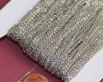 32 ft of Antique Silver Plated very Flat Soldered Cable Chain 1.2mm