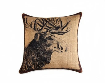 Moose Pillow, Burlap Pillow, Throw Pillow, Cushion, Accent Pillow, Log Cabin, Rustic, Industrial,  Beige Black Brown