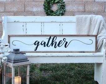 Large Gather Sign | Gather | White Gather Sign | Wood Sign | Gather Sign  Decor