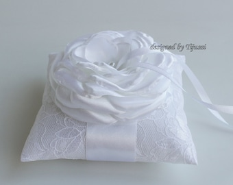 White lace ring pillow with satin rose - ring bearer, ring cushion, ready to ship