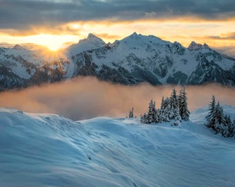 Snowy Sunrise in the North Cascades |  Pacific Northwest Photography | Print | Metal, Canvas, Lustre