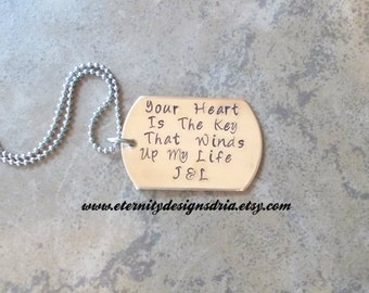 Personalized Couples Necklace, Your Heart Is The Key That Winds Up My Life