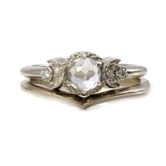 White Topaz and White Diamond Moon Ring with Chevron Nesting Wedding Band - White Gold