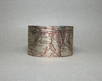 Cuff Bracelet Finger Lakes Region Upstate New York Map Keuka Cortland Geneseo Seneca Unique Gift for Him or Her