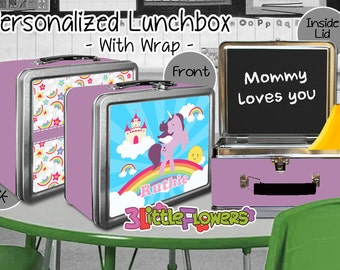 Unicorn Lunchbox - Personalized Metal Lunch Box with Chalkboard inside - Double-sided Tin Lunch Box - Name lunch box - Wrap or NO wrap