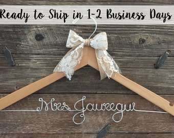 Wedding Hanger, Bridal Hanger, Personalized Hanger, Bride Hanger, Name Hanger, Mrs. Hanger, Custom Hanger, Wedding Dress Hanger