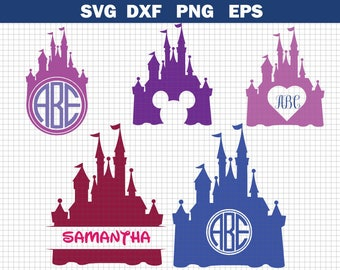 Disney Castle SVG, Heart, Head Mickey Mouse, Cinderella, Magic Kingdom, Disneyland, Silhouette, Clipart, Transfer, Cut Files