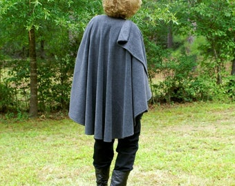Charcoal Gray Anti Pill Fleece Wrap, Poncho, Shawl, Cape or  Ruana--One Size Fits Most