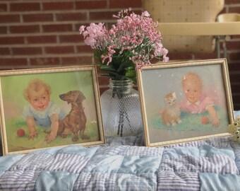 Set of 2 Florence Kroger Baby Prints in Original Frames