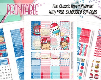 Printable, Classic Happy Planner Weekly Kit, Kawaii 4th of July Stickers, 4th of July  Weekly Kit, Printable Planner Stickers