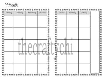 Calendar, Micro, Digital Download, MO2P, Traveler's Notebook, Midori-, Printable