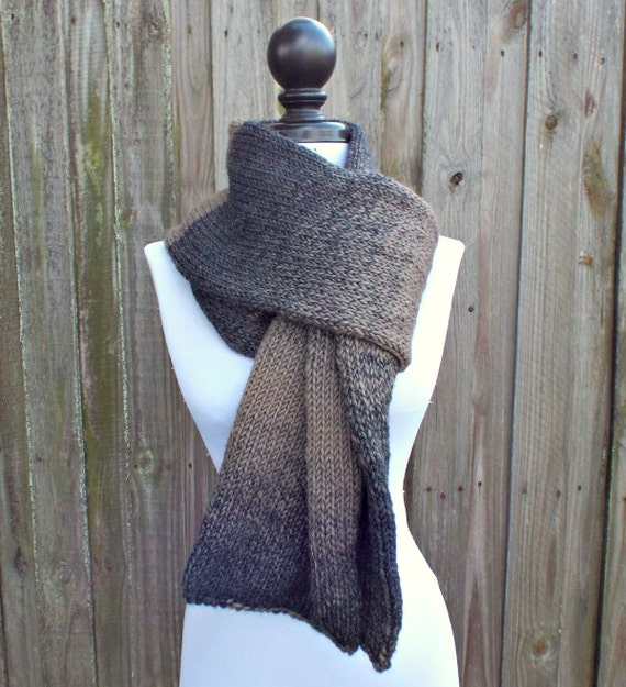 Double Knit Scarf, Charcoal Grey and Taupe Brown Scarf, Mens Scarf, Womens Scarf, Winter Scarf, Grey Scarf Taupe Scarf - 19 Color Choices