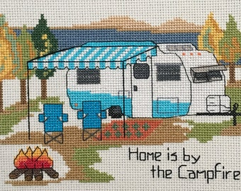 PDF PATTERN - Scotty Vintage Trailer - Camping Counted Cross Stitch