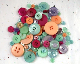 100 Deep Pastels, Sherbet Button Mix,  Orange, Aqua, Pink, Lavender, Green Mix assorted sizes - Crafting -  Jewelry -  Collect (1172)