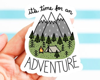 Outdoorsy Gift, Adventure Sticker, Mountain Sticker, Vinyl Sticker, Camping Sticker, Travel Sticker, Hiking Gear, Bumper Sticker, Helmet