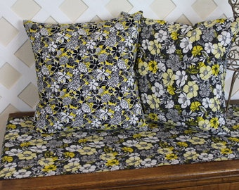 Pillow Covers, Pillow Cases, Black White Yellow, Floral Pillow Cover, Flowers Pillow cover.