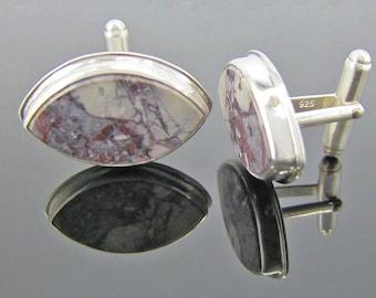 Porcelain Jasper Sterling Silver Cufflinks