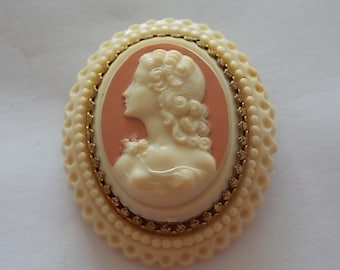 Vintage Victorian Style Cameo Celluloid French Brooch Pin  LOVELY