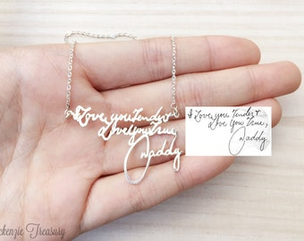 Personalized handwriting necklace, Message necklace, signature jewelry, Custom name necklace, Handmade Jewelry 925 Sterling Silver