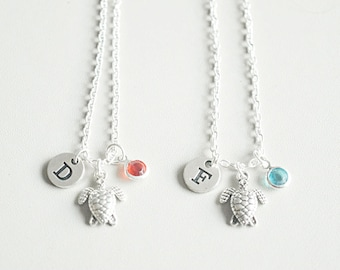 Turtle charm necklace, bff necklace set, 2 3 4 5 6 7 8 Best friend necklace friend necklace, friendship jewelry, personalized Initial stone