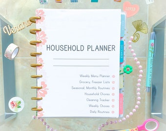 Happy Planner Pages HOUSEHOLD Planner   Insert Cleaning Checklist and Schedule PDF House routine  9 pages