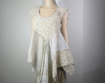 Lagenlook Boho Tunic Shabby Chic Floral Lace Vintage Cotton Taupe Mori Girl Romantic Flowing One Size Fits S - L