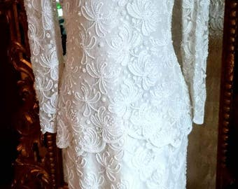 Gorgeous Vintage Laurence Kazar White Beaded Evening Gown!