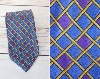80s Gianni Versace Geometric Silk Tie / Blue Purple Yellow / 1980s / Italian Designer Tie