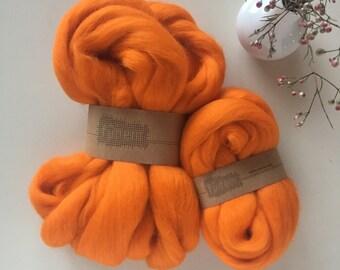 Merino Wool Roving 540 Orange