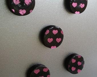 Pink Hearts Magnet Set
