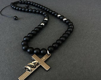 Cross Pendant, Beaded Necklace, Mens Onyx Necklace, Necklace for Men, Gift for Him, 10mm Stone Necklace,Mens Cross Jewelry,Onyx Jewelry Mens