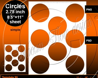 INSTANT DOWNLOAD - 2.75 inch circles TEMPLATE 95 Printable Baby Onesie Sticker Accessories Glass Resin Sticker Hangtags Print Your Own diy