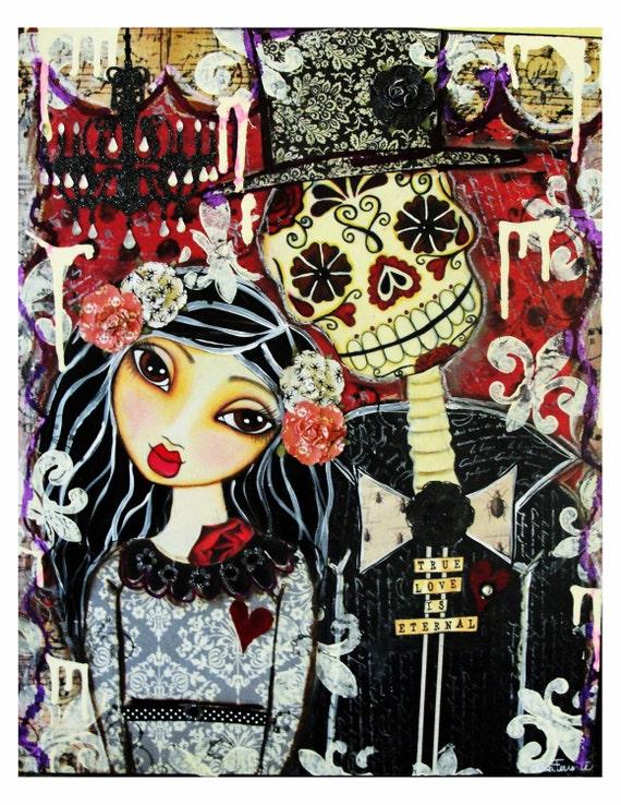 True Love Is Eternal Day Of The Dead Couple Fine Art Print
